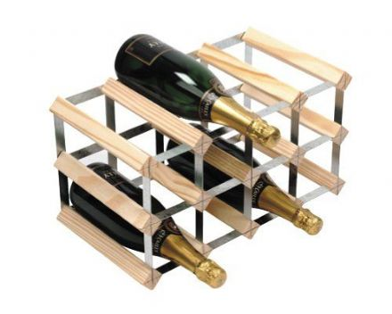 RTA 12 Bottle Assembled Natural Pine Wine Rack WNRK4000